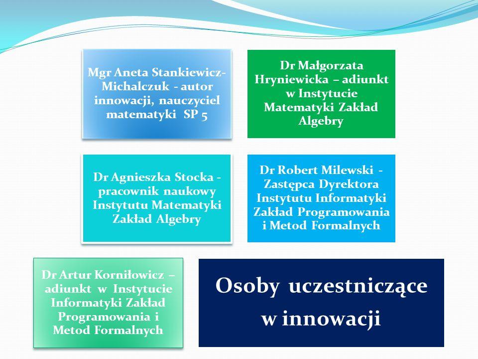 Osoby uczestniczące w innowacji