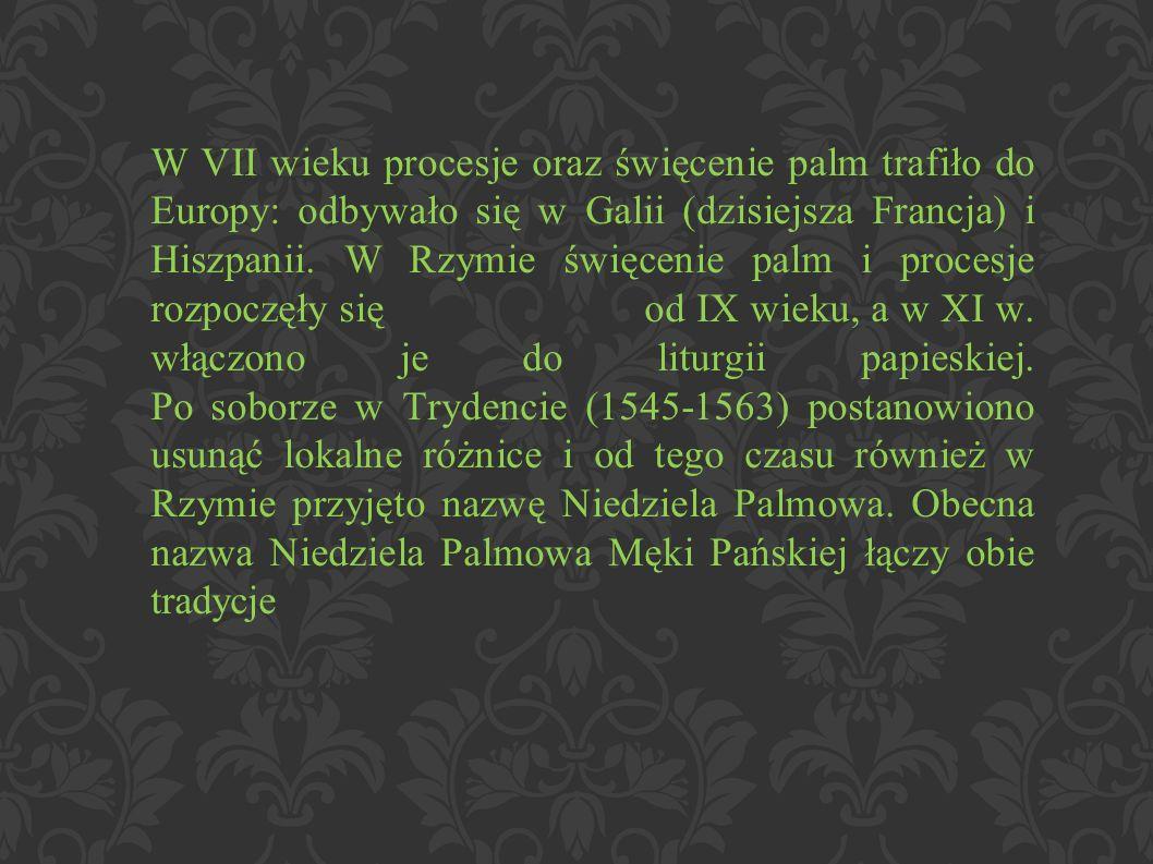 W VII wieku procesje oraz święcenie palm trafiło do Europy: odbywało się w Galii (dzisiejsza Francja) i Hiszpanii.