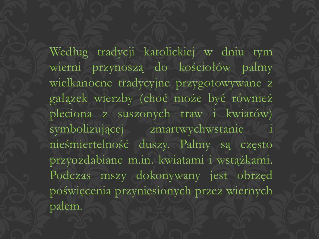 Według tradycji katolickiej w dniu tym wierni przynoszą do kościołów palmy wielkanocne tradycyjne przygotowywane z gałązek wierzby (choć może być również pleciona z suszonych traw i kwiatów) symbolizującej zmartwychwstanie i nieśmiertelność duszy.
