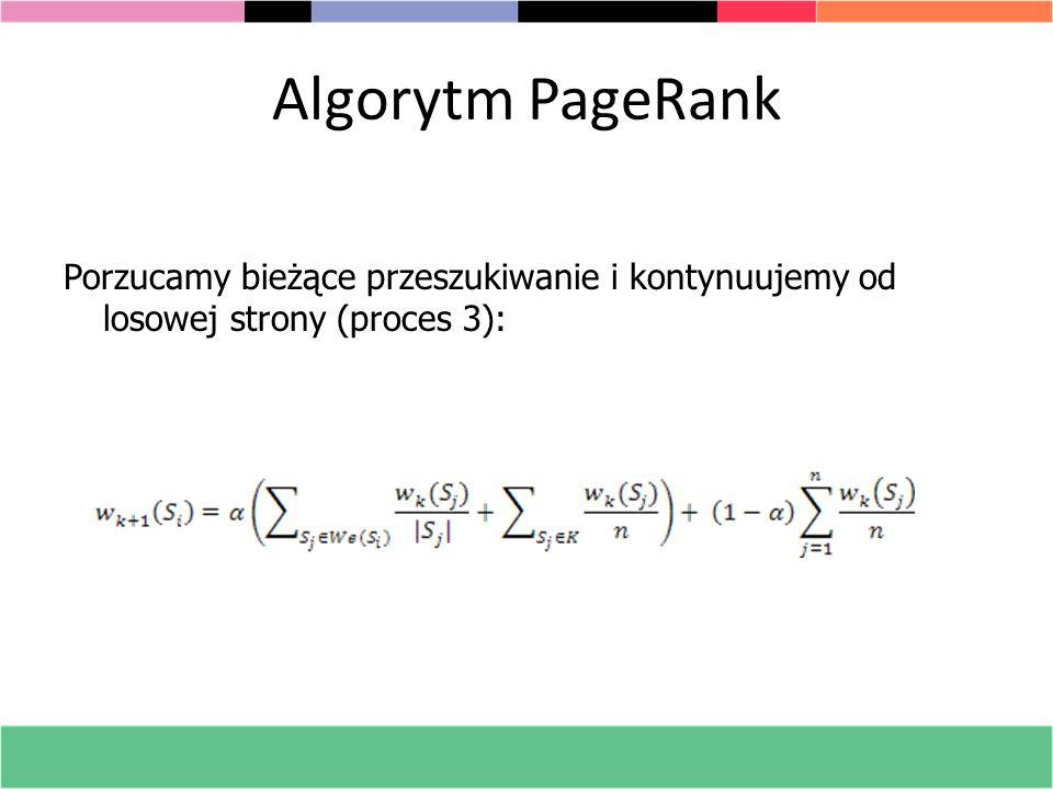 Algorytm PageRank Porzucamy bieżące przeszukiwanie i kontynuujemy od losowej strony (proces 3):