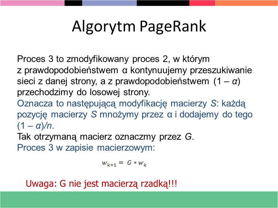 Algorytm PageRank Proces 3 to zmodyfikowany proces 2, w którym