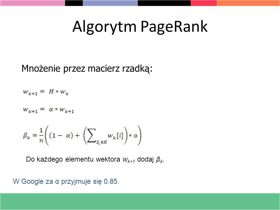 Algorytm PageRank Mnożenie przez macierz rzadką: