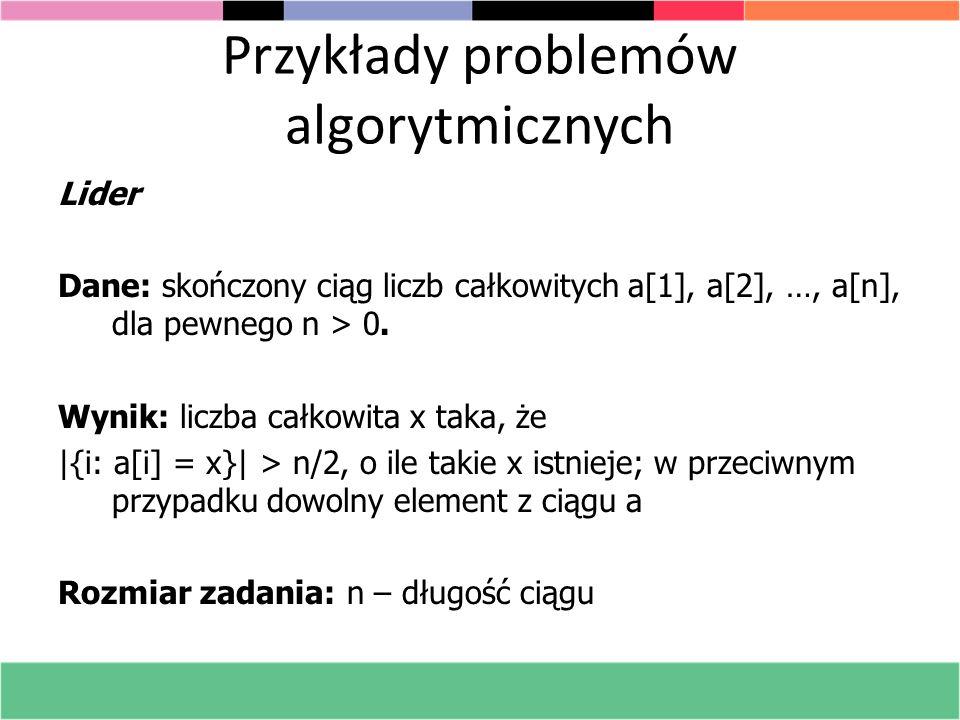 Przykłady problemów algorytmicznych