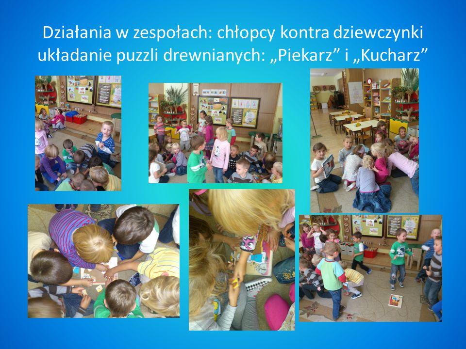 """Działania w zespołach: chłopcy kontra dziewczynki układanie puzzli drewnianych: """"Piekarz i """"Kucharz"""