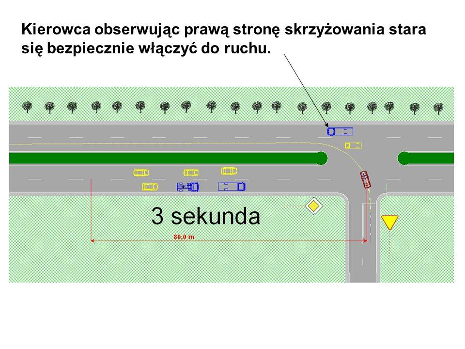 Kierowca obserwując prawą stronę skrzyżowania stara się bezpiecznie włączyć do ruchu.