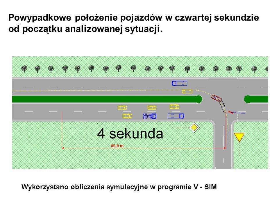 Powypadkowe położenie pojazdów w czwartej sekundzie od początku analizowanej sytuacji.