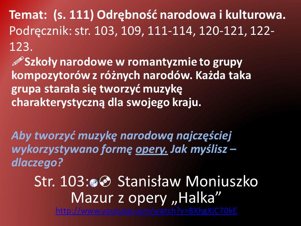 Temat: (s. 111) Odrębność narodowa i kulturowa. Podręcznik: str
