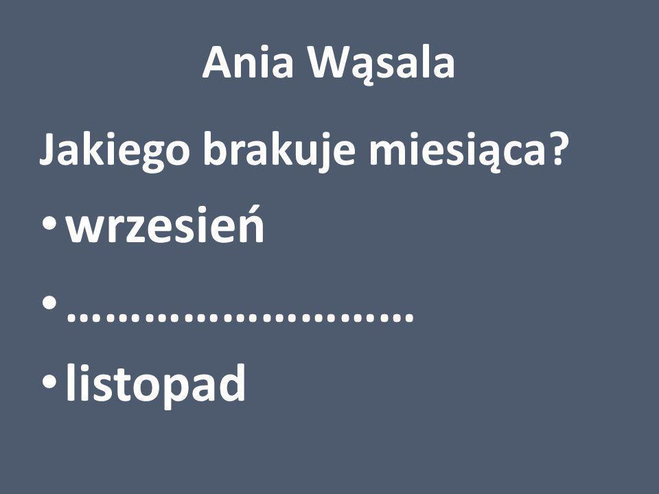 Ania Wąsala Jakiego brakuje miesiąca wrzesień ……………………… listopad