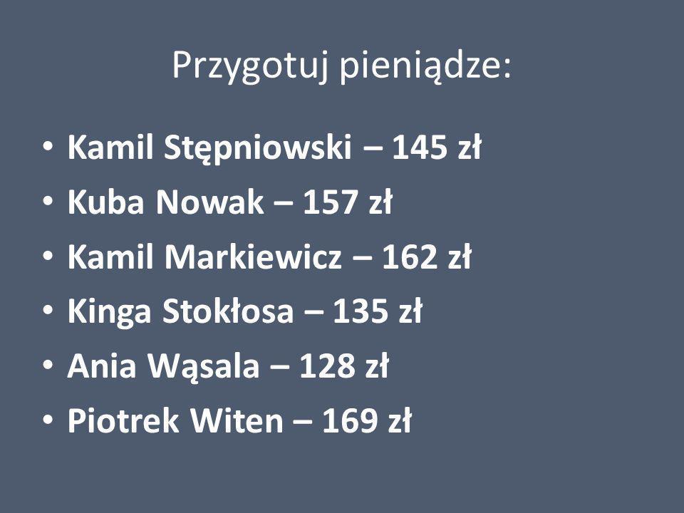 Przygotuj pieniądze: Kamil Stępniowski – 145 zł Kuba Nowak – 157 zł