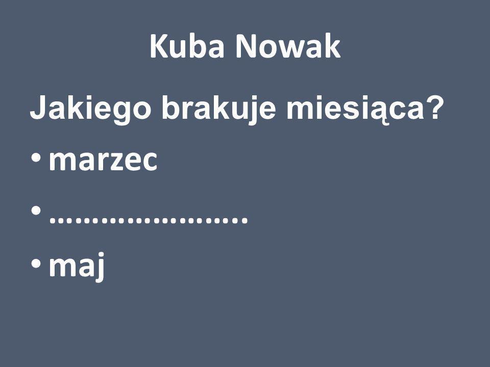 Kuba Nowak Jakiego brakuje miesiąca marzec ………………….. maj