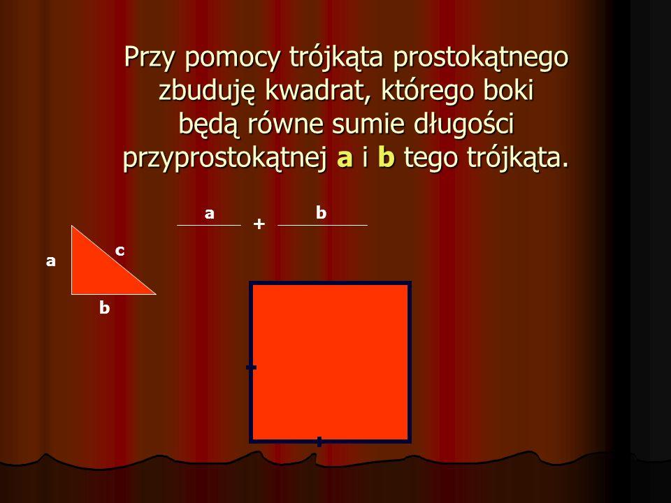 Przy pomocy trójkąta prostokątnego zbuduję kwadrat, którego boki będą równe sumie długości przyprostokątnej a i b tego trójkąta.