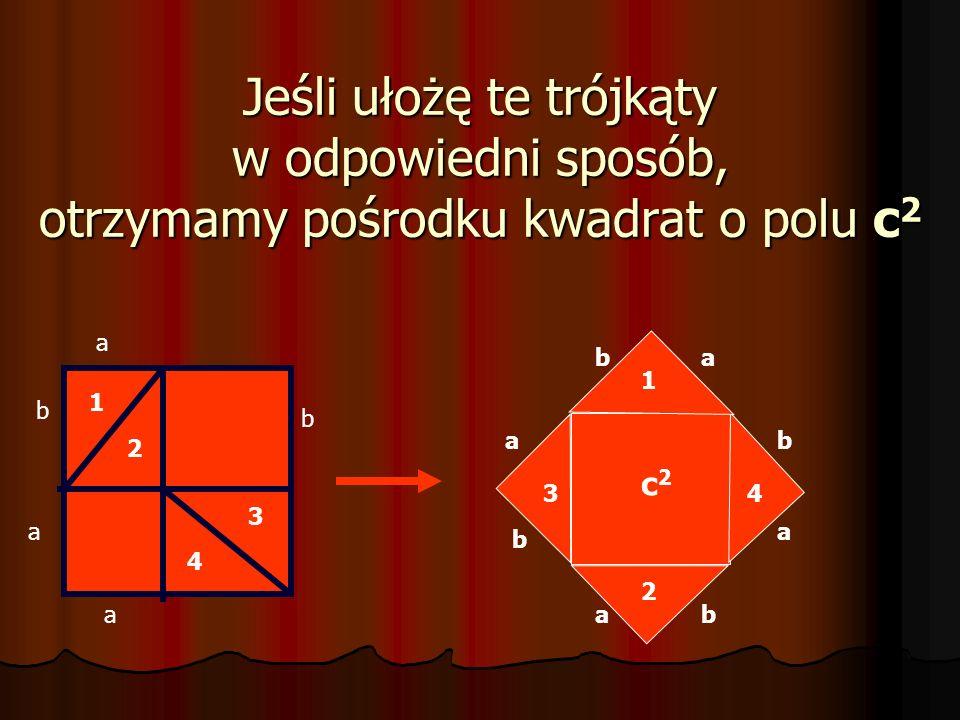 Jeśli ułożę te trójkąty w odpowiedni sposób, otrzymamy pośrodku kwadrat o polu c2
