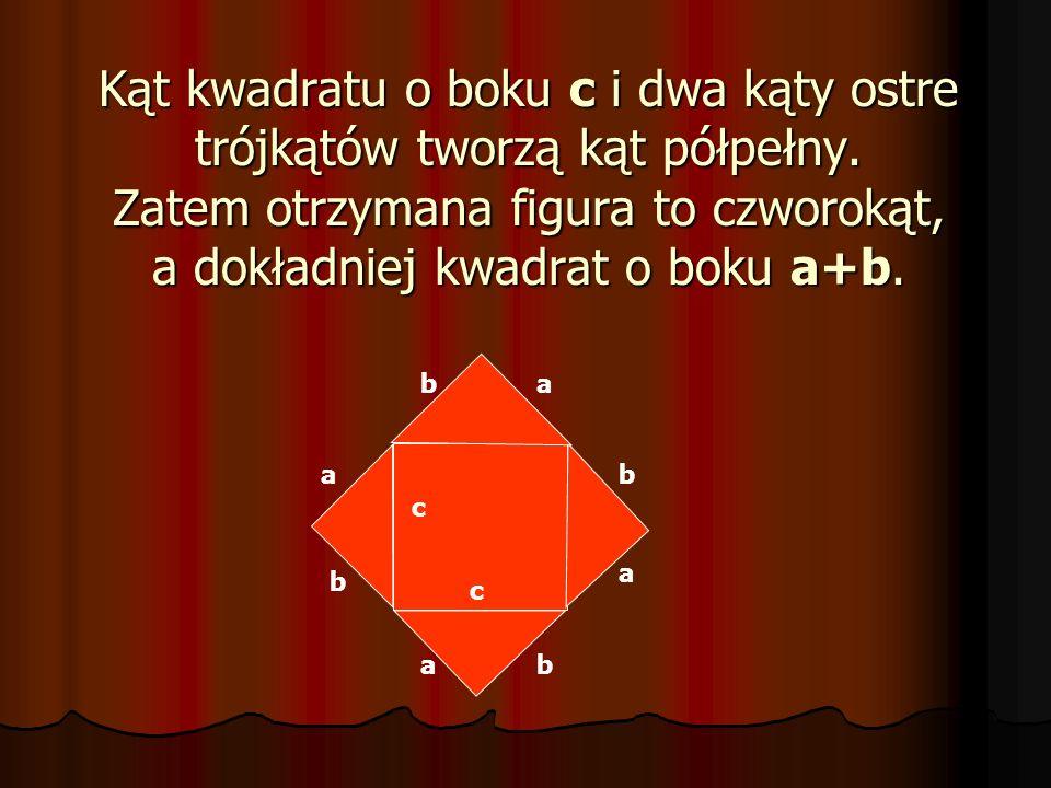 Kąt kwadratu o boku c i dwa kąty ostre trójkątów tworzą kąt półpełny