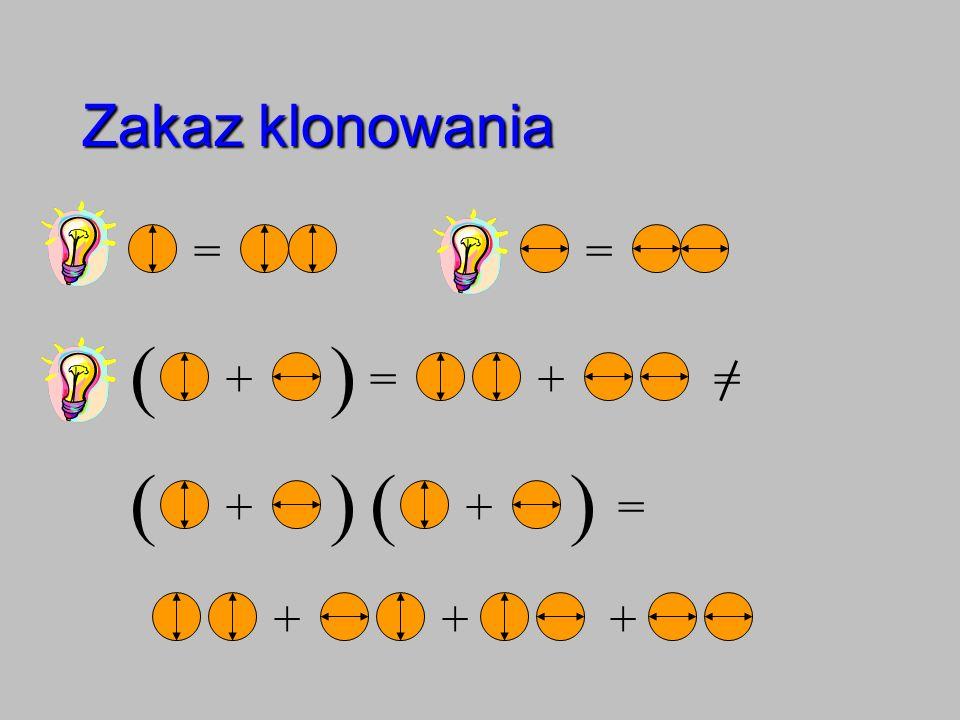 Zakaz klonowania = = ( ) + = + = ( ) ( ) Wooters i Żurek + + = + + +