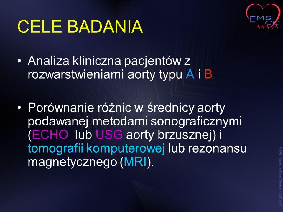 CELE BADANIA Analiza kliniczna pacjentów z rozwarstwieniami aorty typu A i B.