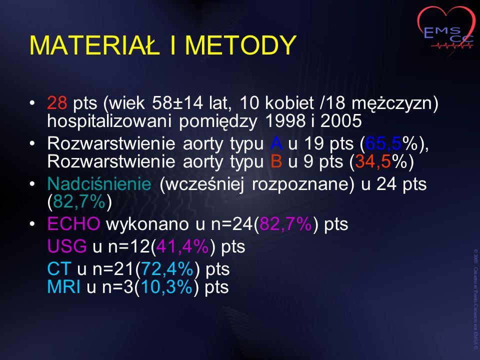 MATERIAŁ I METODY 28 pts (wiek 58±14 lat, 10 kobiet /18 mężczyzn) hospitalizowani pomiędzy 1998 i 2005.