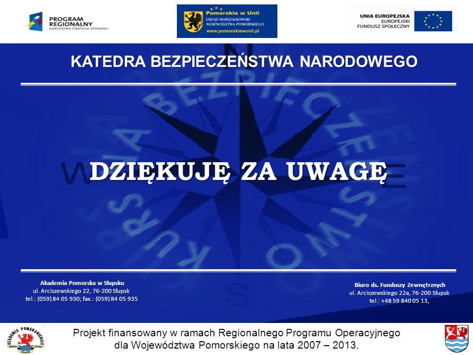 KATEDRA BEZPIECZEŃSTWA NARODOWEGO Akademia Pomorska w Słupsku