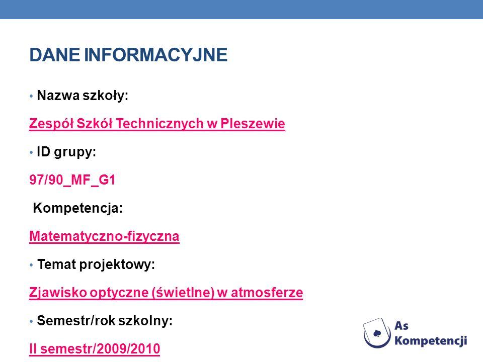 Dane INFORMACYJNE Nazwa szkoły: Zespół Szkół Technicznych w Pleszewie