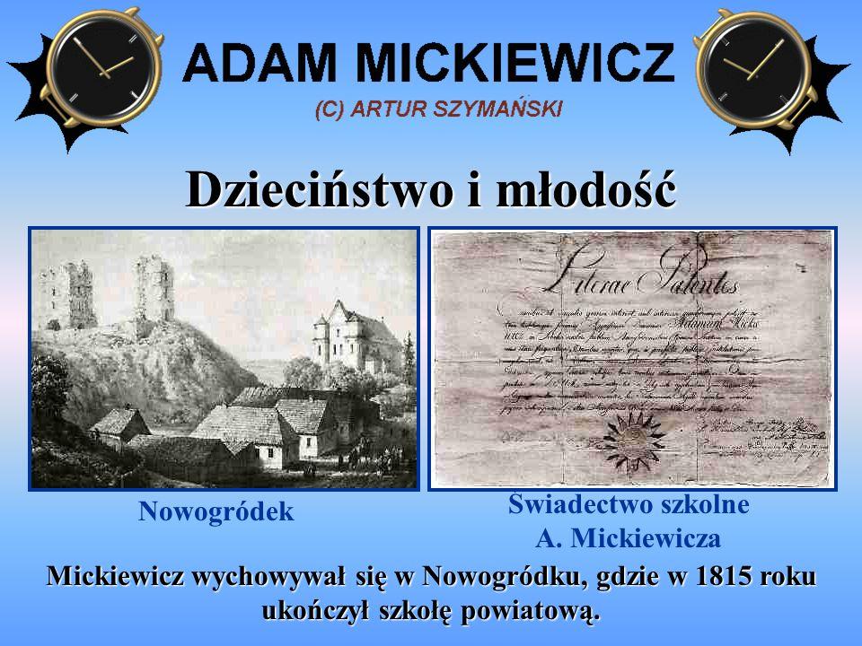 Świadectwo szkolne A. Mickiewicza