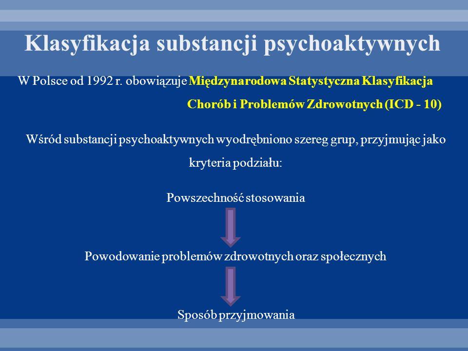 Klasyfikacja substancji psychoaktywnych