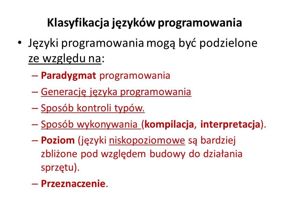 Klasyfikacja języków programowania