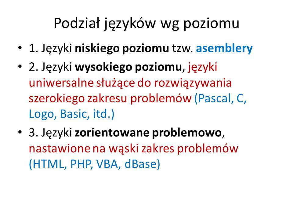 Podział języków wg poziomu