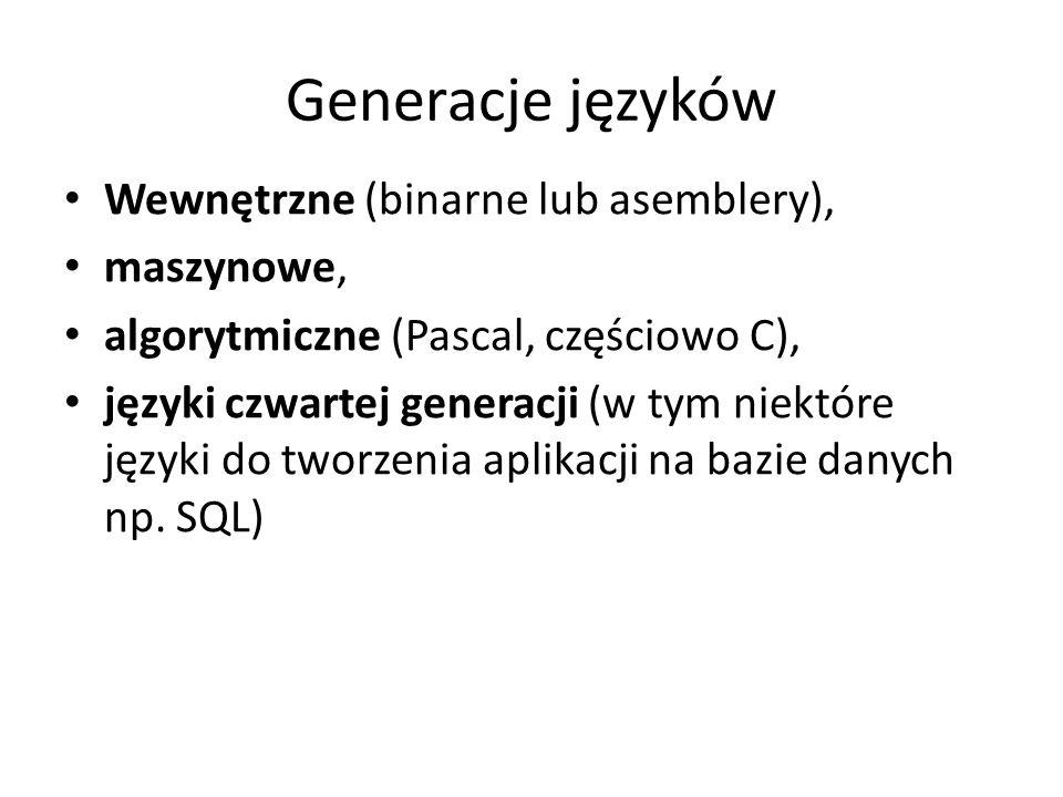 Generacje języków Wewnętrzne (binarne lub asemblery), maszynowe,