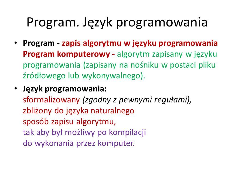 Program. Język programowania