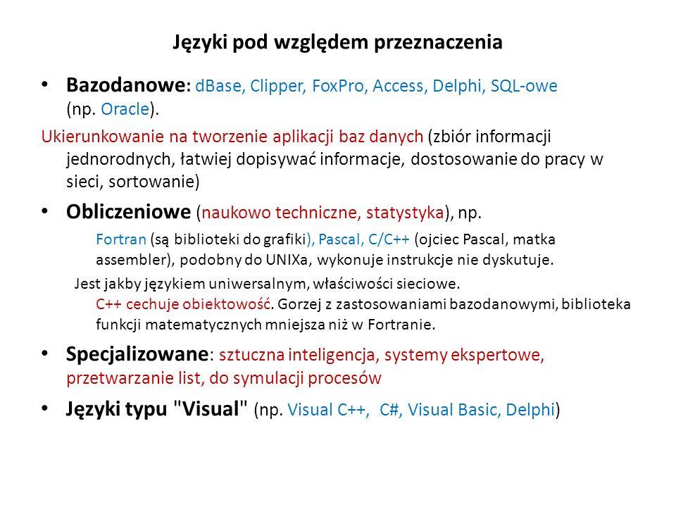 Języki pod względem przeznaczenia