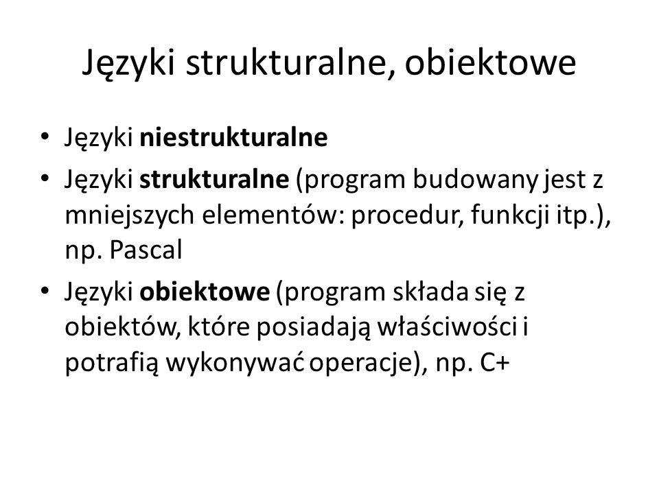 Języki strukturalne, obiektowe