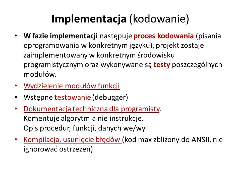 Implementacja (kodowanie)