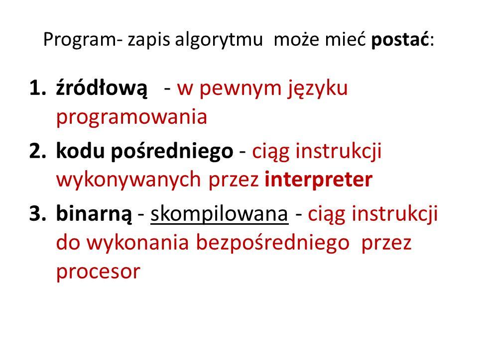 Program- zapis algorytmu może mieć postać: