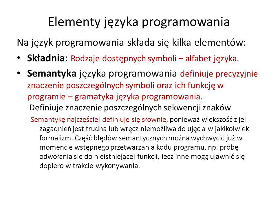 Elementy języka programowania
