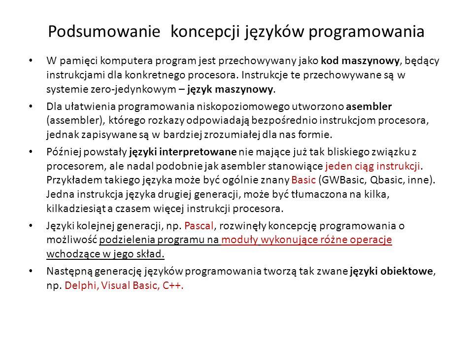 Podsumowanie koncepcji języków programowania