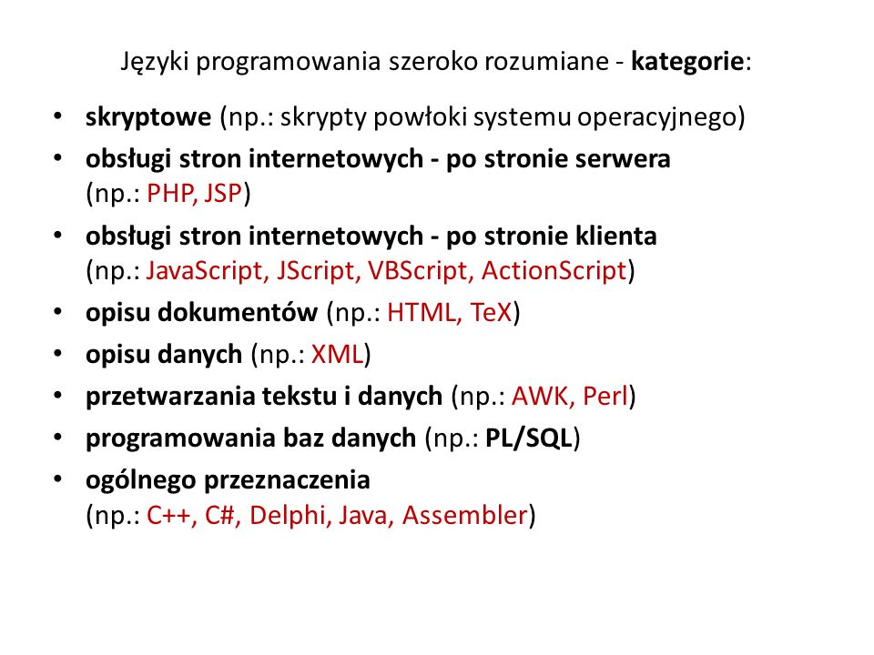 Języki programowania szeroko rozumiane - kategorie: