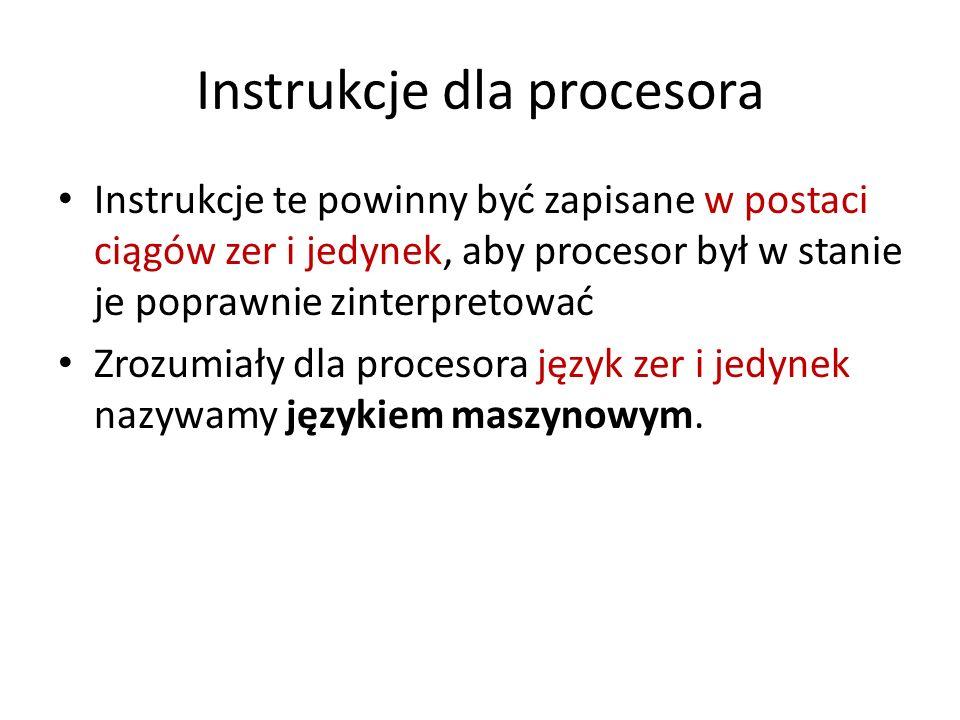 Instrukcje dla procesora