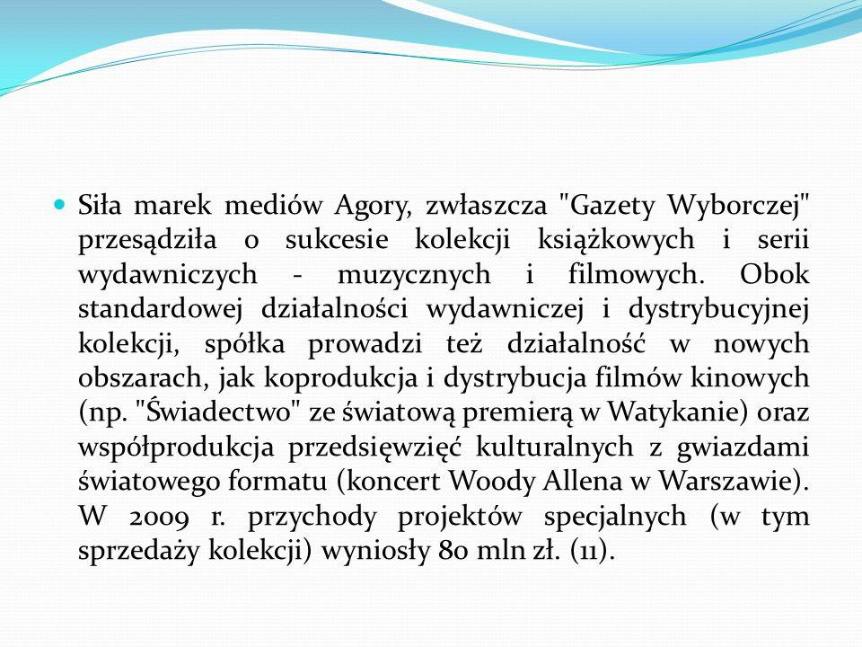 Siła marek mediów Agory, zwłaszcza Gazety Wyborczej przesądziła o sukcesie kolekcji książkowych i serii wydawniczych - muzycznych i filmowych.