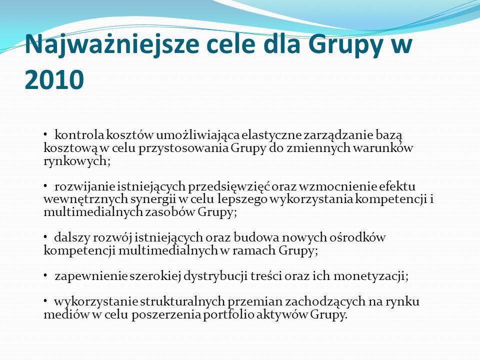Najważniejsze cele dla Grupy w 2010