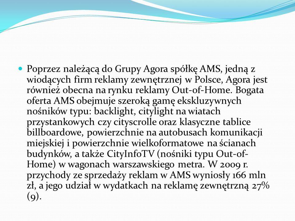 Poprzez należącą do Grupy Agora spółkę AMS, jedną z wiodących firm reklamy zewnętrznej w Polsce, Agora jest również obecna na rynku reklamy Out-of-Home.