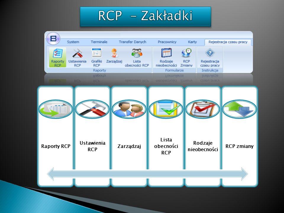 RCP - Zakładki Raporty RCP Ustawienia RCP Zarządzaj