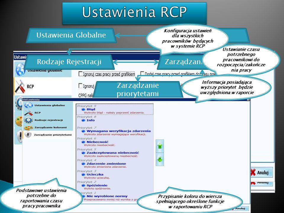 Ustawienia RCP Ustawienia Globalne RCP Rodzaje Rejestracji
