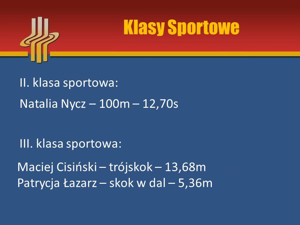 Klasy Sportowe II. klasa sportowa: Natalia Nycz – 100m – 12,70s