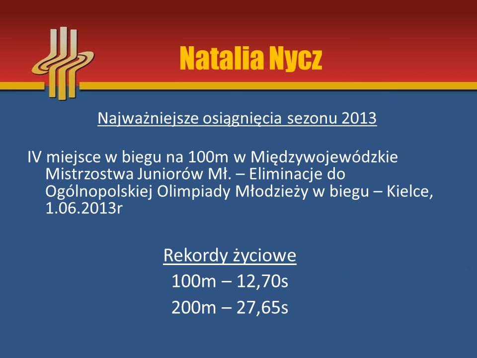 Natalia Nycz Rekordy życiowe 100m – 12,70s 200m – 27,65s