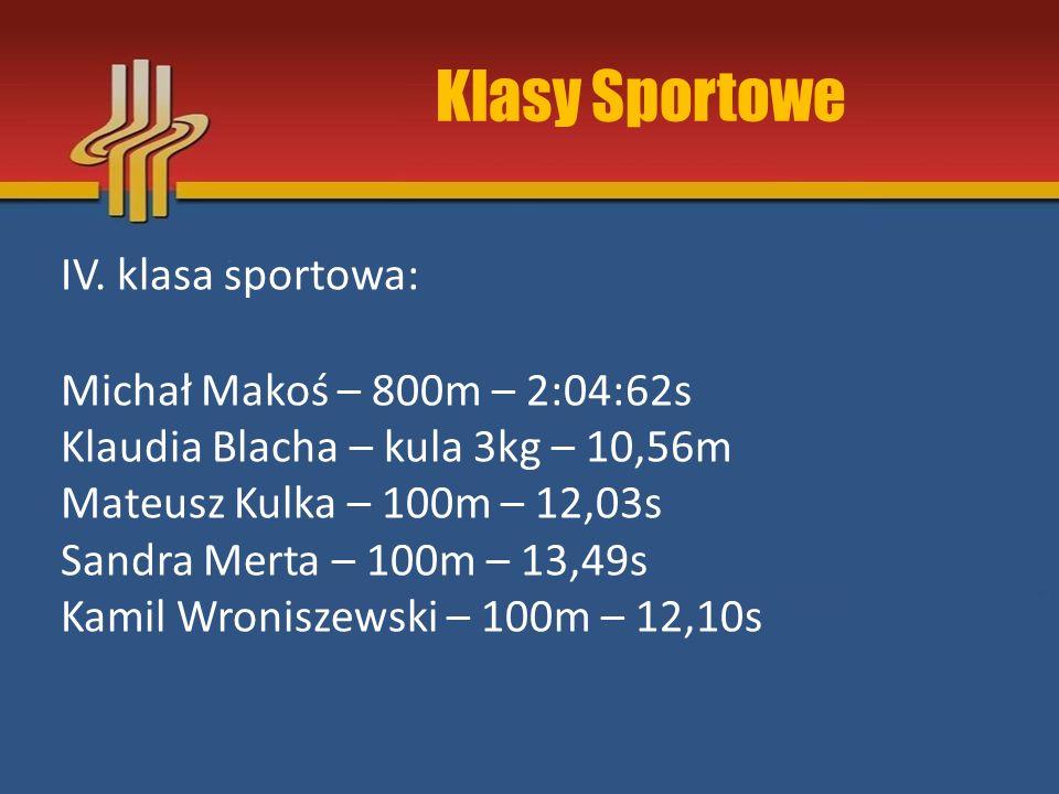 Klasy Sportowe IV. klasa sportowa: Michał Makoś – 800m – 2:04:62s