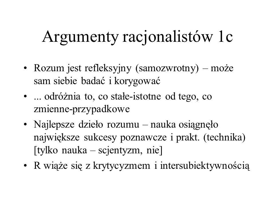 Argumenty racjonalistów 1c