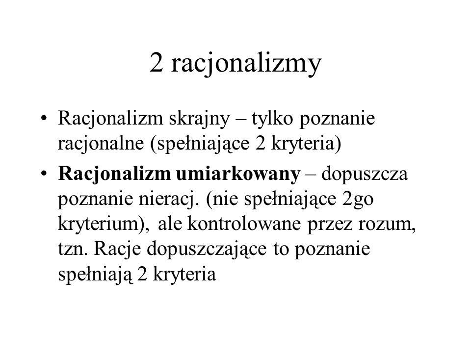 2 racjonalizmy Racjonalizm skrajny – tylko poznanie racjonalne (spełniające 2 kryteria)