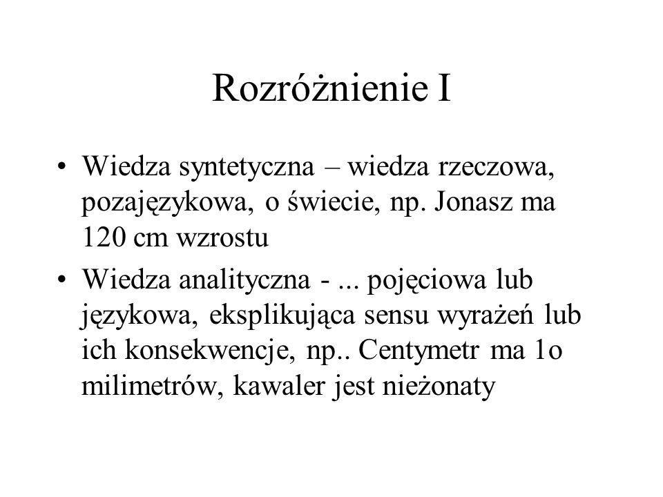 Rozróżnienie I Wiedza syntetyczna – wiedza rzeczowa, pozajęzykowa, o świecie, np. Jonasz ma 120 cm wzrostu.