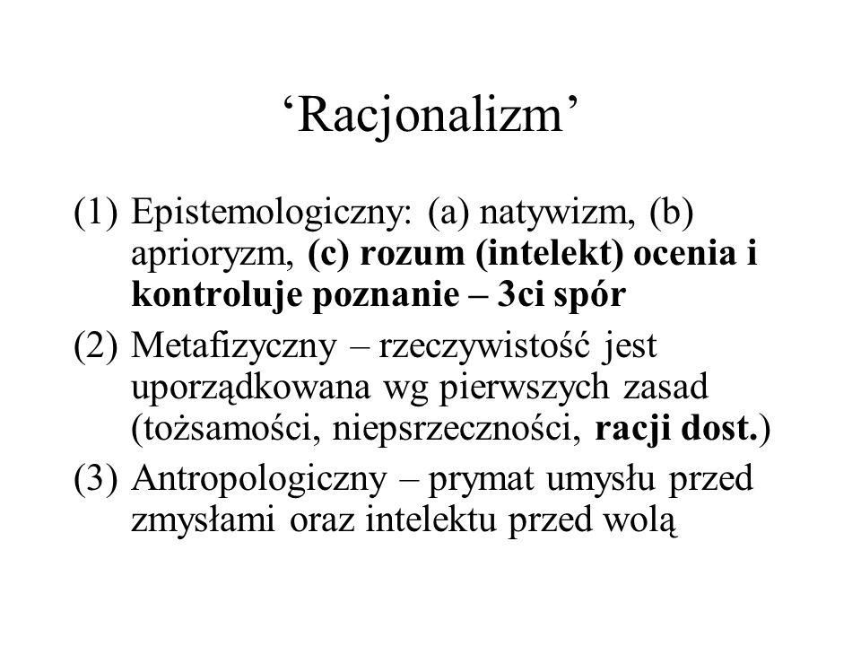 'Racjonalizm' Epistemologiczny: (a) natywizm, (b) aprioryzm, (c) rozum (intelekt) ocenia i kontroluje poznanie – 3ci spór.