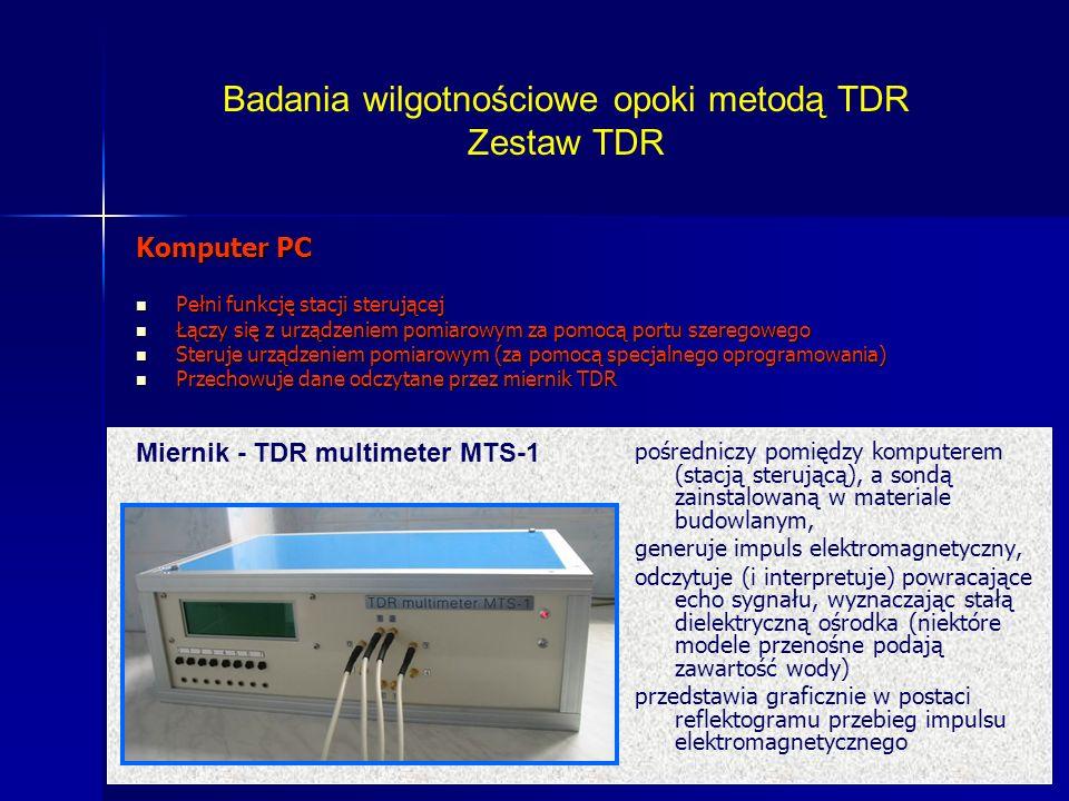 Badania wilgotnościowe opoki metodą TDR Zestaw TDR
