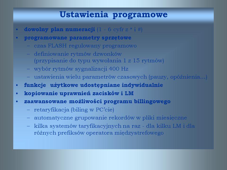 Ustawienia programowe